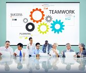 Teamwork Team Collaboration Connection Togetherness Unity Concept poster
