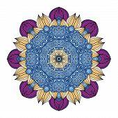 Vector Beautiful Deco Colored contour Mandala Patterned Design Element Ethnic Amulet poster