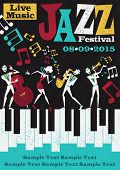 Retro styled Jazz festival Poster featuring an Abstract style illustration of a vibrant Jazz band and super cool lead singer who is striking a stylish pose and playing a musical performance live on stage. poster