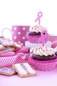 Host an Event for Pink Ribbon Day charity for womens breast cancer awareness with a pink morning tea with cupcakes cookies coffee and tea. poster