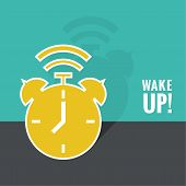 Background with alarm clock. The concept of early awakening. morning wake up and deadline. vector. flat design with shadow poster