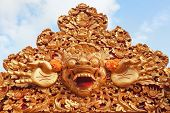 Barong - protective spirit and Bali island symbol is featured in tourist attraction - traditional Balinese dance. Arts religion and culture festivals of Indonesian people. Asian travel backgrounds. poster