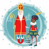 Christmas in Holland. Sinterklaas and Zwarte Piet. Vector illustration. poster