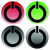 Power buttons vector. Power switches turn on turn off shut down ignite buttons. poster