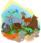 Cartoon forest wilderness landscape with many wildlife animals surrounding the tree trunk grub poster