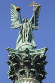 The statue of Archangel Gabriel on top of the Heroes Square Column in Budapest. poster