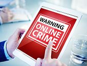 Hands Holding Digital Tablet Cyber Crime poster