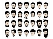 Vector set of dress up constructor. Different men faces hipster geek style haircut, glasses, beard, mustache, bowtie, pipe. Silhoutte icon creation kit. Design flat avatar for social media or web site poster