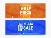 Creative Mega Sale website header or banner set with special discount offer on every brand for limited time. poster