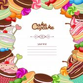 A blurry illustration of confectionery products in the form frames, cards, menus, stickers, banners. Bakery background frame with sweets, confectionery, sweets, desserts on textured paper background. poster