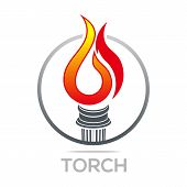 Flame fire torch design luxury logo icon shape vector poster