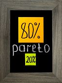 Pareto principle or eighty-twenty rule represented on a blackboard and color sticky notes in the gray frame poster