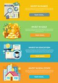 Concept of investment in education gold property. Finance business, wealth and money, financial bank, investing deposit, potential offer, invest market, banking economy development illustration poster