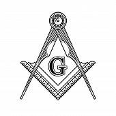 Masonic Freemasonry Emblem Icon Logo. Vector illustration poster