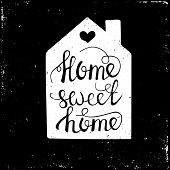 Hand drawn typography poster. Conceptual handwritten phrase Home Sweet Home.T shirt hand lettered calligraphic design. Inspirational vector typography. poster