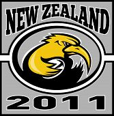 illustration of a kiwi rugby player running with ball with words new zealand 2011 poster