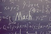 Math text with some maths formulas on chalkboard background. poster