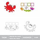 Solve the rebus. Find hidden word crab.Task and answer. Search the word. poster