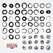 Set of grunged traced circles by painbrush and ink poster