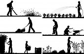 Set of eps8 editable vector silhouette foregrounds of people gardening with all figures as separate objects poster