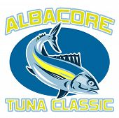 "retro style illustration of an albacore tuna diving with words ""albacore tuna classic"" poster"