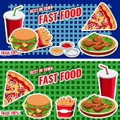Fast food concept banner flat style vector templates with burger pizza soda fries for web banner design placard billboard. poster