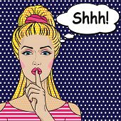 Girl says Shhh pop art comics style. Vector retro woman putting her forefinger to her lips for quiet silence. poster