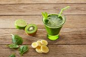 Detox green juice cleansing recipe with also kiwi lemon cucumber spinach poster