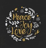 Merry Christmas Background with Typography, Lettering. Greeting card - Peace, Joy, Love poster