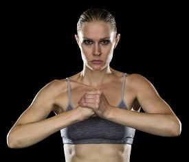 Strong Woman Cupping Fist with Hand
