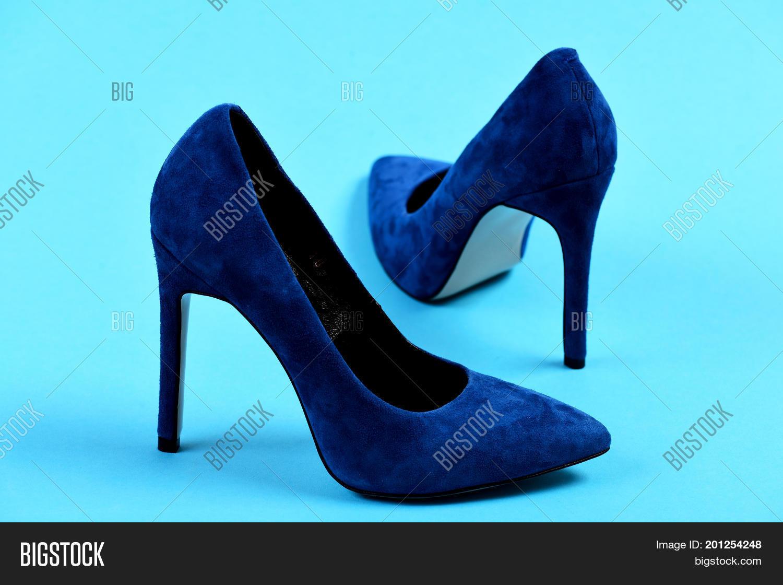 Pair Fancy Blue Suede Image \u0026 Photo
