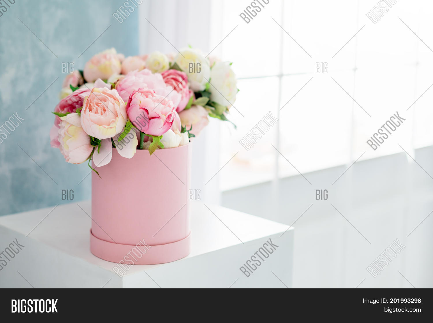 Flowers round luxury present box image photo bigstock flowers in round luxury present box bouquet of pink and white peonies in paper box izmirmasajfo