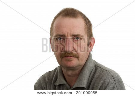 Portrait of a man isolated on white background