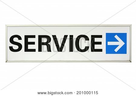 Service Sign with arrow  isolated on white background.