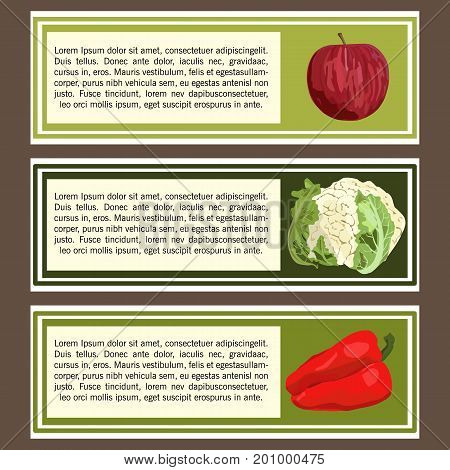 Vector. Hand drawn apple, cauliflower, red pepper. Cards template for vegan shop, menu, restaurant.
