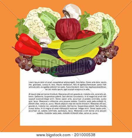 Vector. Hand drawn. Healthy eating vector concept. Vegan. Template. Realistic apple banana grape eggplant squash champignon red pepper cauliflower.