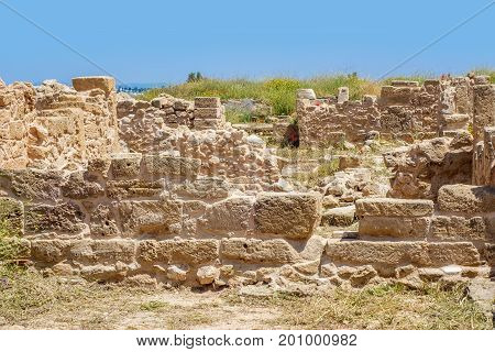 Ruins of ancient greek temple, Saranda Kolones. Archaeological park at Kato Paphos, Cyprus