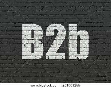 Business concept: Painted white text B2b on Black Brick wall background
