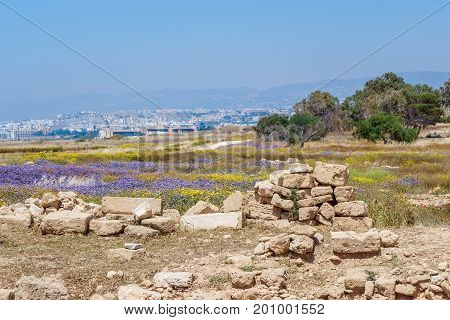 Ruins of ancient greek temple, Saranda Kolones. Cyprus Archaeological park at Kato Paphos, Cyprus