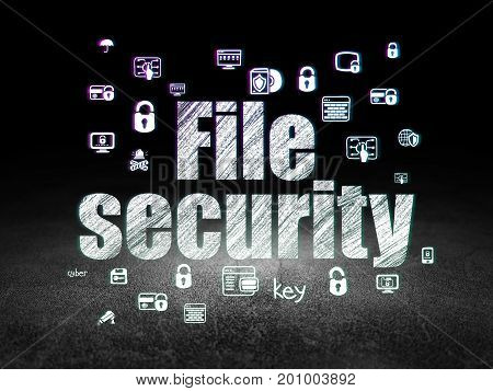 Security concept: Glowing text File Security,  Hand Drawn Security Icons in grunge dark room with Dirty Floor, black background