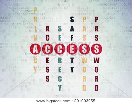 Privacy concept: Painted red word Access in solving Crossword Puzzle on Digital Data Paper background