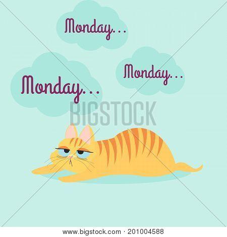 Tired orange cat with stripes. Boring monday. Vector illustration