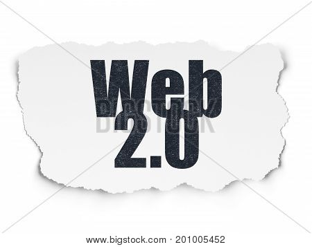 Web development concept: Painted black text Web 2.0 on Torn Paper background with  Tag Cloud