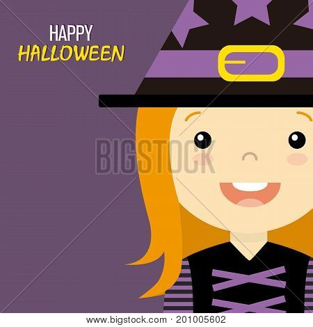 Happy halloween card. Girl disguised as a witch