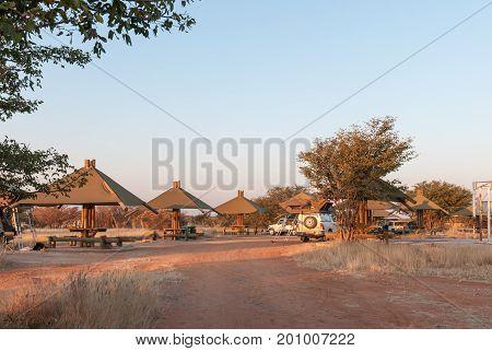 ETOSHA NATIONAL PARK NAMIBIA - JUNE 26 2017: Picnic sites for day visitors at the Olifantsrus Rest Camp in the Etosha National Park