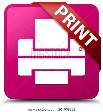 Print (printer Icon) Pink Square Button Red Ribbon In Corner