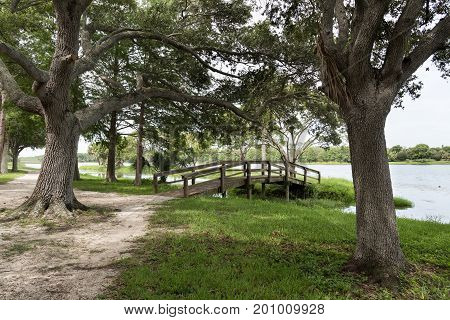 Wooden bridge to a small islet in John S. Taylor Park, Pinellas County, Florida, USA