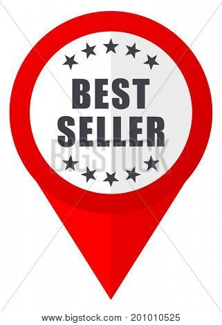 Best seller red web pointer icon. Webdesign button on white background.