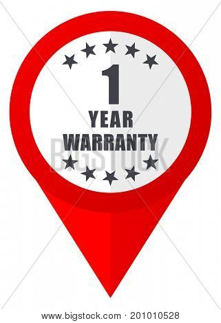 Warranty guarantee 1 year red web pointer icon. Webdesign button on white background.