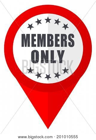 Members only red web pointer icon. Webdesign button on white background.